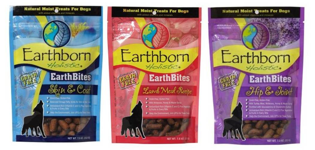 Earthborn Holistic EarthBites Grain-Free Gluten-Free Natural Moist Dog Treats 3 Flavor Variety Bundle 1 EarthBites Lamb Meal Recipe Treats, 1 EarthBites Hip Joint Treats, and 1 EarthBites Skin Coat Treats, 7.5 Oz. Ea. 3 Bags Total