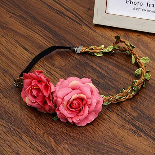 New Festival Wedding Rose Wicker Braid Rattan Wreath Hairband Adjustable Crown Elastic Flower Headbands Tiara Hair Accessories As Show4