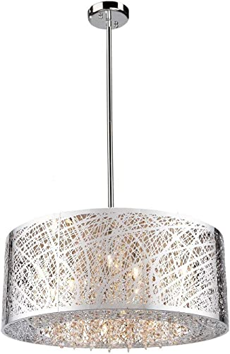 9 Light Drum Shade Bird Nest Chandelier Pendant Ceiling Lamp Dia 24