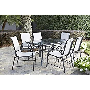 Cosco Outdoor Living ( 88647GLGE) 7 Piece Paloma Steel Patio Dining Set,  Light/