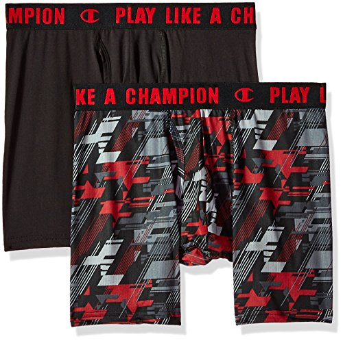 Champion Men's Ultra Lightweight Boxer Brief, Black/red camo, X-Large