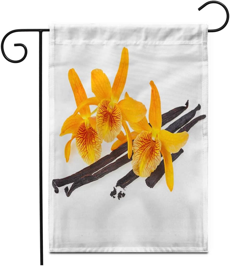 """Adowyee 28""""x 40"""" Garden Flag Brown Flower Orchid Vanilla Beans Yellow Seed Plant Aroma Outdoor Double Sided Decorative House Yard Flags"""