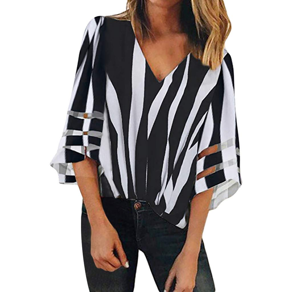 Womens Blouses Lady Stripe Splice V Neck Lace Patchwork Shirt Casual Loose Tee Tops Black