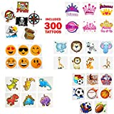 Temporary | Fake Tattoo Assortment for Kids - Variety for Boys and Girls - Pirates, Princess, Zoo Animals, Dinosaurs, Emoji and Sports - Birthday Party Favors or Prizes