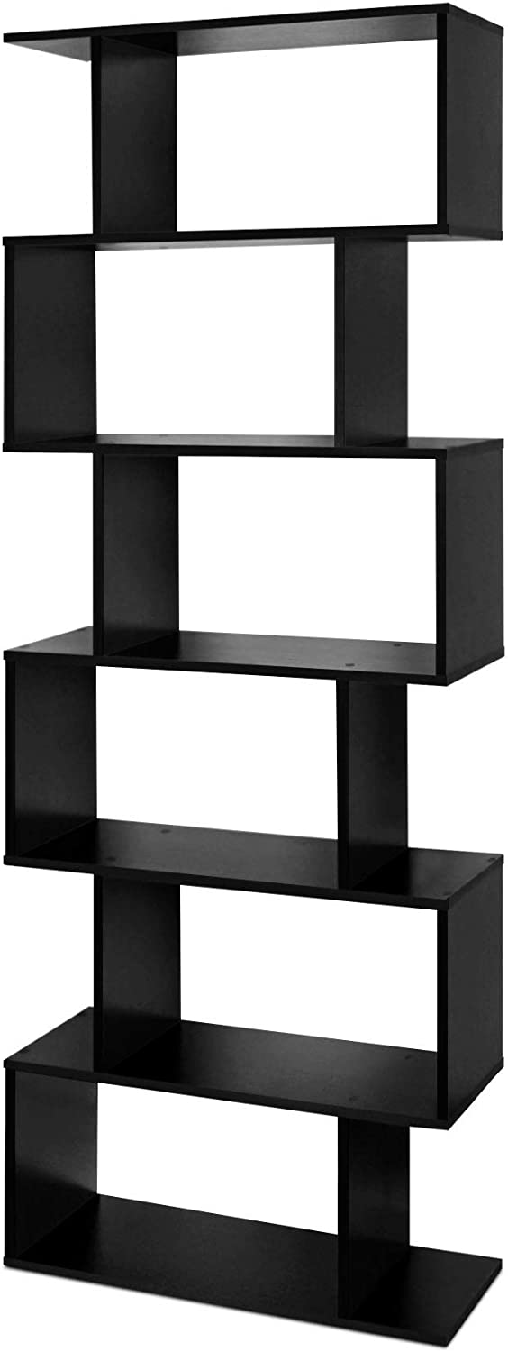 Lillyvale Wood Bookcase Bookshelf S Shape 6 Tier Shelves Free Standing Shelving Storage Display Unit Organizer for Living Room Black White (Black)