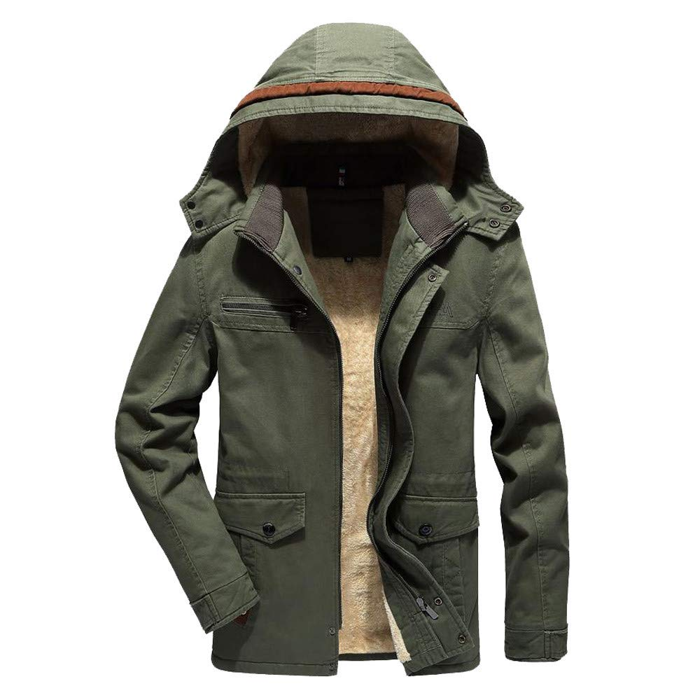 Men Winter Coat Sale Warm Plus Velvet Slim Buttons Zipper Detachable Hat Jacket Overcoat (Green, M)