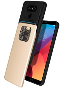 LG G6 Case, Mercury [Sliding Card Holder] Protective Dual Layer Bumper [TPU+PC] Cover with Card Slot Wallet for LG G6 (Gold) LGG6-SKY-GLD