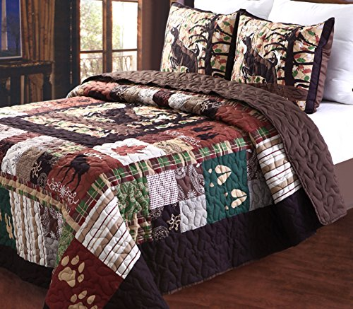 Greenland Home 3 Piece Whitetail Lodge Quilt Set, (Home Fashions Moose)