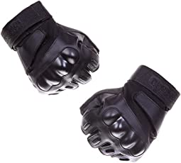 Fatmingo Fingerless/Half-finger Hard Knuckle Protection Military Tactical Gloves Shooting for Outdoor Cycling