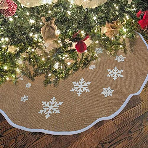 OurWarm Christmas Tree Skirt 30 Inch Burlap Tree Skirt White Snowflake Printed Christmas Decorations New Year Party Supply