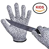 EVRIDWEAR Kid Sized Cut Resistant Work Gloves for Kitchen Use, Crafts, DIY, Garden and Yard works. Children Food Grade Kevlar Safety Gloves for Hand Protection from knives and Scissors (4-7YRS), Grey