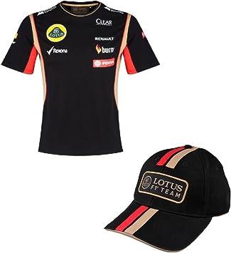 TEAM LOTUS T camisa & Cap Fórmula Uno 1 Lotus F1 Team pedevesa patrocinador 2014/5, hombre, negro: Amazon.es: Deportes y aire libre