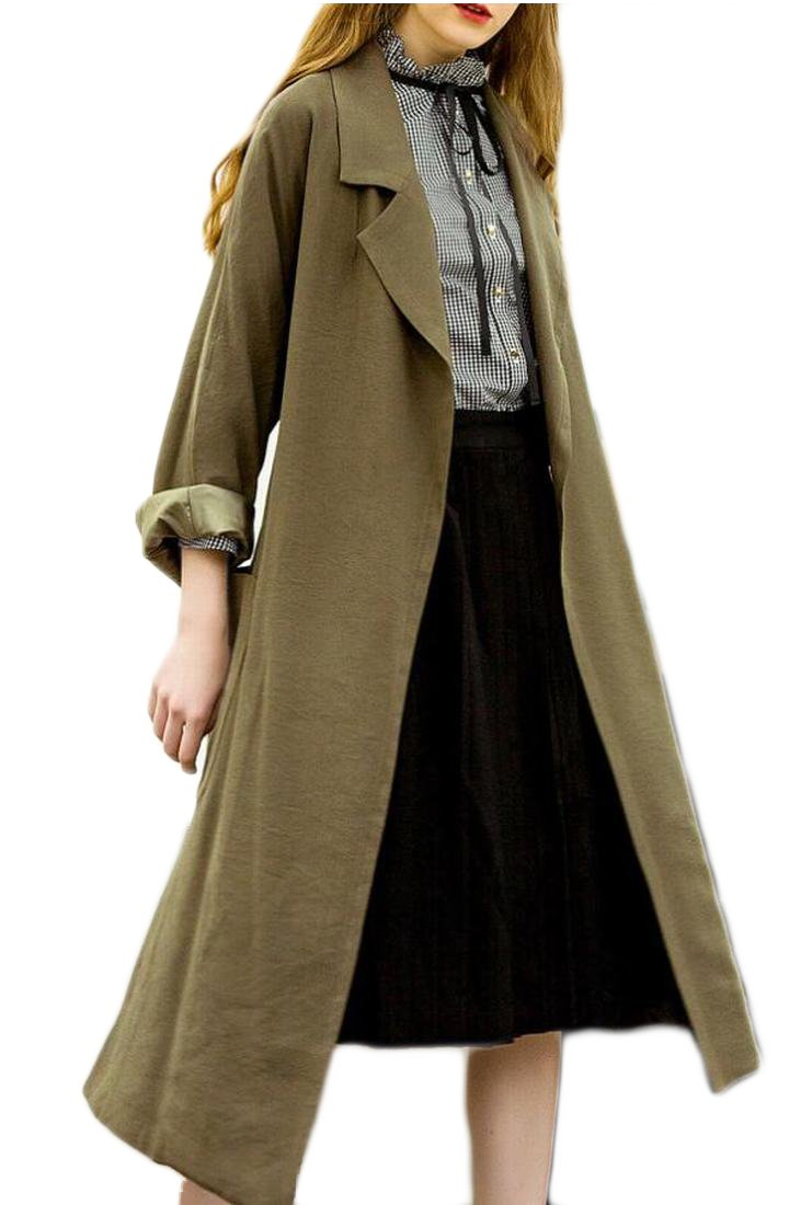 Gocgt Womens Lapel Open Front Wrap Belted Casual Long Trench Coat Army Green M by Gocgt (Image #1)