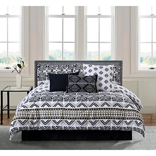 Comforter Set. 7-piece Home Bedding For Bedroom Furniture Includes Comforter, Shams, Bed skirt, Accent Pillows. Stylized Ethnic Design Linens With Chevron Geometric Print, White & Black Tones. (Queen)