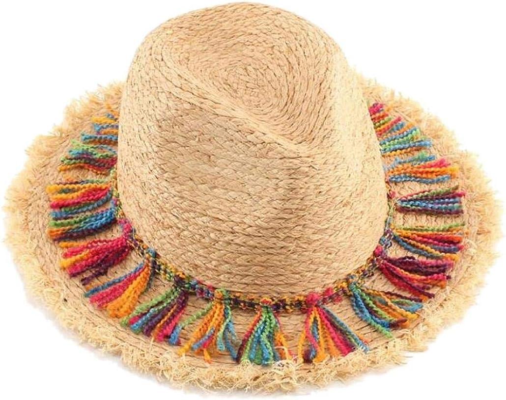 Las Mujeres del Sombrero del Verano De Bohemia Caps Sombreros De La Playa De Las Señoras De La Borla De La Cuerda del Borde Grande del Sombrero De Sun Floppy Rafia Sombreros De Paja Beige
