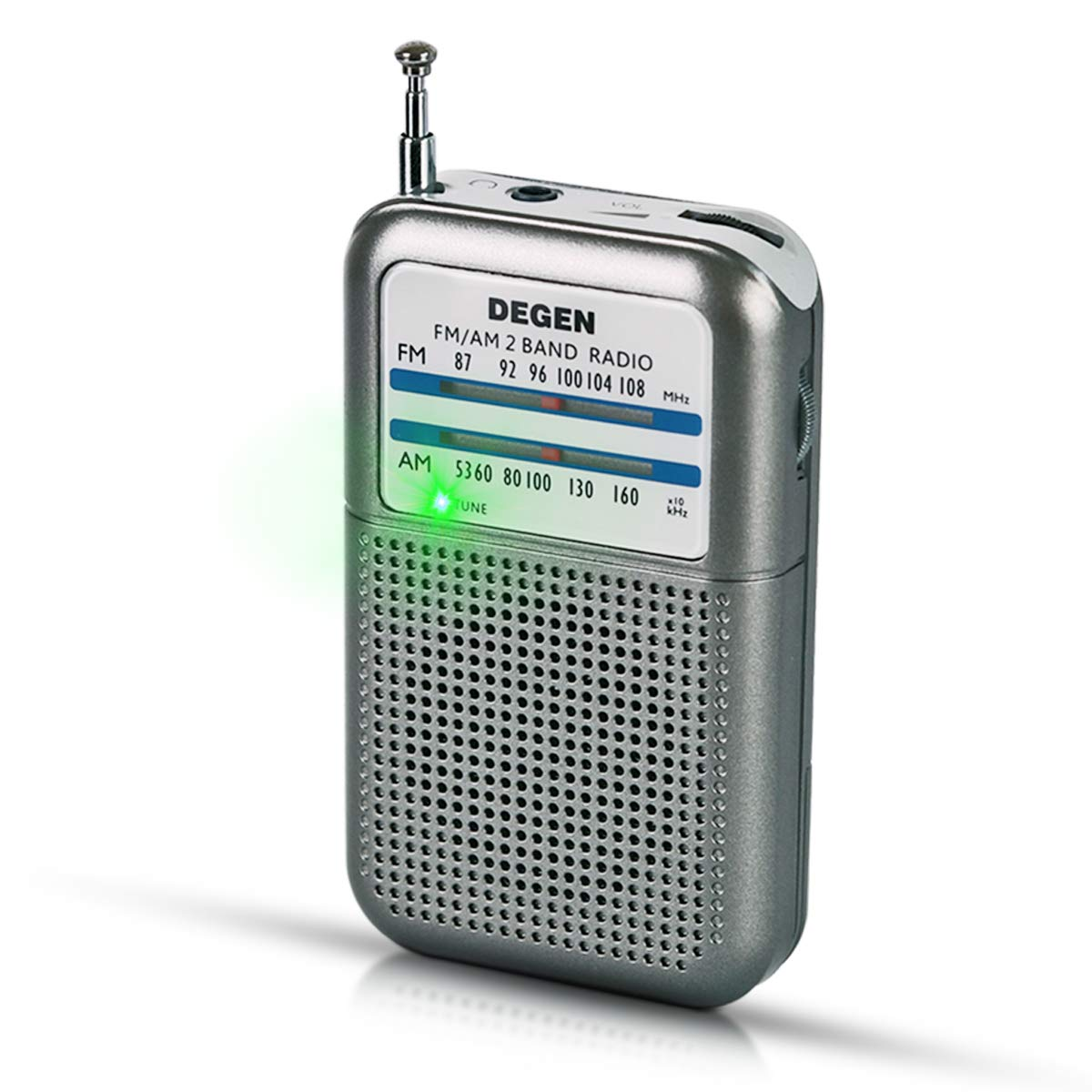 PRUNUS DEGEN-DE333 Portable Mini Pocket FM/AM Transistor Radio, Excellent Reception, Tuning Knob with Signal Indicator. Supports Replaceable Battery (AAA)