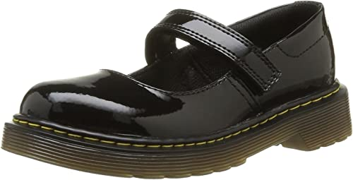 Youth Girls Dr Martens Maccy 2 Black Patent Lamper Leather School Shoes Sz Size