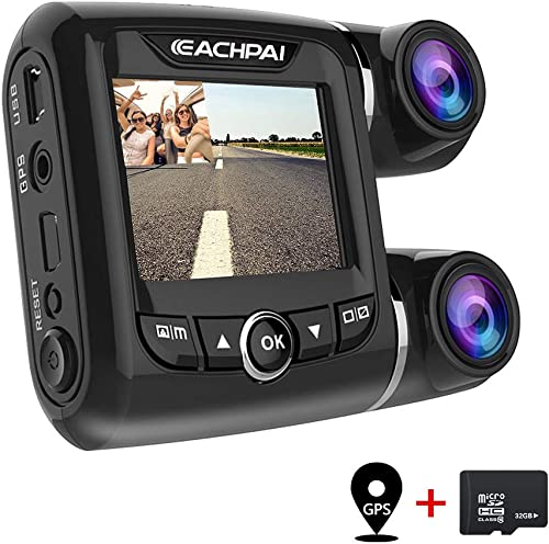 EACHPAI Car Dash Cam,Dual Dash Cam FHD 1080P 1080P Front and Rear View 2 LCD 140 Degree Wide Angle Super Capacitor Dashboard Camera Recorder with Sony Exmor Video Sensor, G-Sensor, Loop Recording,GPS