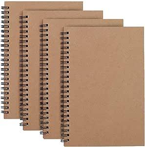 Cuaderno de Bocetos Espiral A4, Bosquejo de Papel en Blanco Blocs de Notas Marrón Cubierta de Kraft, 100 Páginas, 50 Hojas Libreta Perfecto para Viajar, Pack de 4: Amazon.es: Hogar