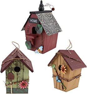 joyMerit Set of 3 Natural Birdhouse Wooden Handcrafted Hut Bird Friendly House for Outdoors Tree Hanging and Indoors Display