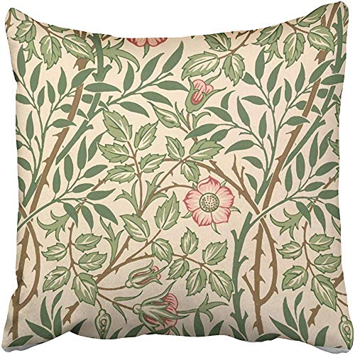 Sweet Briar Design for Wallpaper Printed by Joh Accent Cushions Case Throw Pillow Cover for Sofa Home Decorative Pillowslip Gift Ideas Household Pillowcase Zippered Pillow Covers 18X18 Inch
