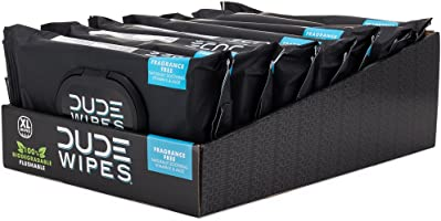 DUDE Wipes Flushable Wipes Dispenser (6 Packs, 48 Wipes Each), Unscented Wet Wipes with Vitamin-E & Aloe for at-Home...