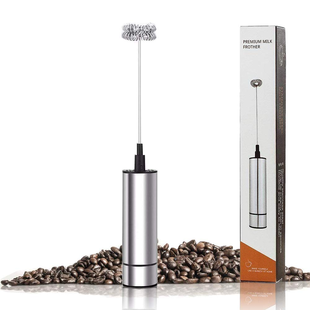 Electric Milk Frother, HCE, Foam Maker with Stainless Steel Double Whisk Head,Portable Handheld Drink Mixer For Latte, Coffee, Cappuccino, Hot Chocolate, Battery Operated