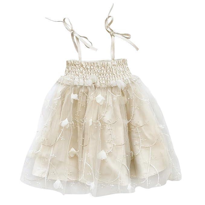 Brightup Bebé niñas Vestido de fiesta de Tulle de verano con tirantes Princess Beach Party Dress: Amazon.es: Ropa y accesorios