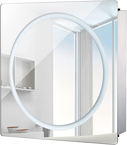 HomCom LED Ring Sliding Bathroom Mirror Medicine Wall Cabinet 28 x 24