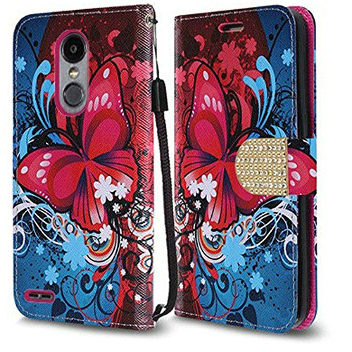 Luckiefind Compatible with LG Aristo Lv3/LG Aristo 2/LG Tribute Dynasty/LG Fortune/LG Phoenix 3/LG Risio 2/LG Rebel 2 LTE/LG Zone 4, Premium Flip Wallet Credit Card Cover Case(Butterfly)