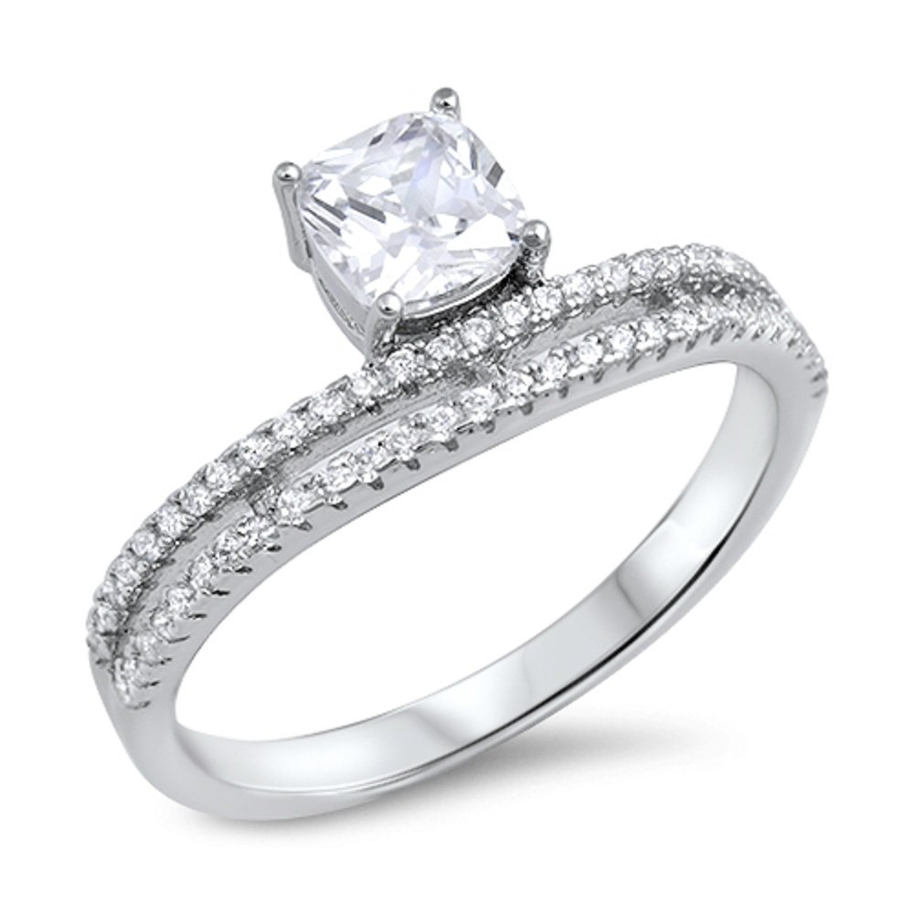 CloseoutWarehouse Princess Cut Cubic Zirconia Center Two Roll Designer Ring Sterling Silver
