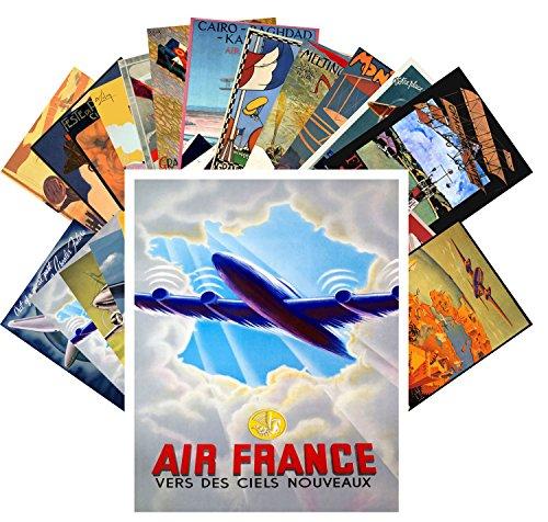 (Postcard Set 24 cards Vintage Travel Posters Aviation Planes European)