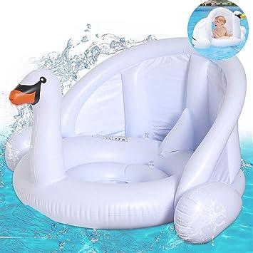 mciskin Cisne Blanco bebé Flotador de Seguridad bebé niños Hinchable natación Agua Flotador Anillo de natación con toldo Ajustable Parasol, Parasol, ...