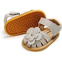 Meckior Baby Girls Premium Soft Rubber Sole Anti-Slip Summer Shoes Infant Baby Prewalker Toddler Sandals. (11cm(0…