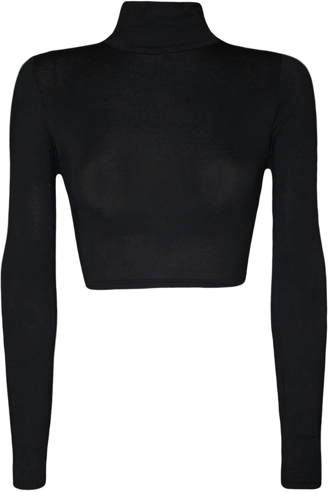 Womens Turtle Neck Crop Long Sleeve Plain Top---Thin Fabric BLACK-S/M