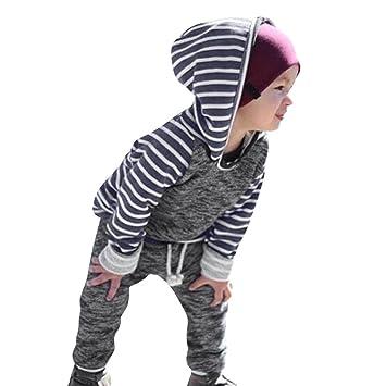 Ropa bebé Niños, Amlaiworld 2pcs Raya Sudadera con Capucha Tops de niñ0s Bebé Infantil +Pantalones Conjunto de Ropa Trajes 3 Mes - 2 Años: Amazon.es: ...