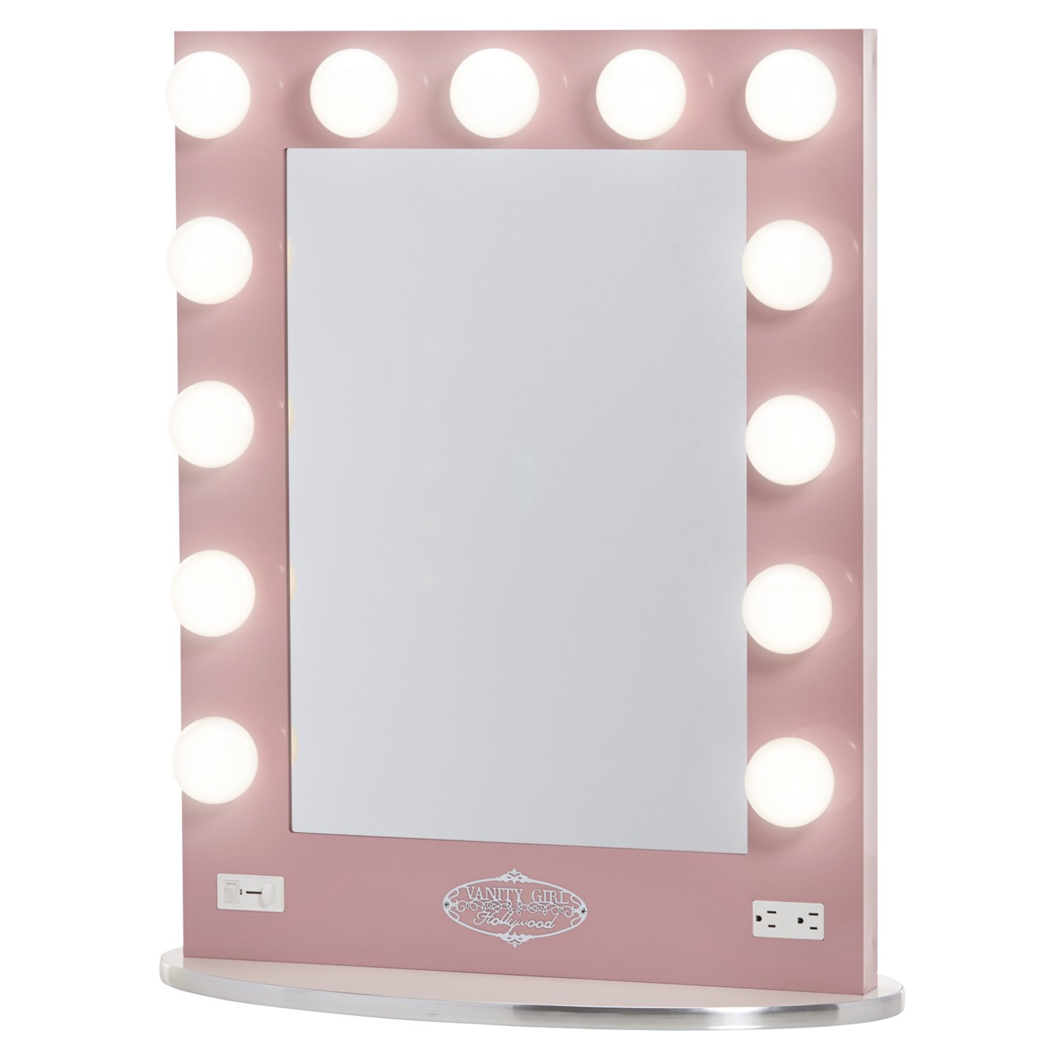 Amazon com  Broadway Lighted Vanity Mirror   Gloss Pink  Amazon LaunchpadAmazon com  Broadway Lighted Vanity Mirror   Gloss Pink  Amazon  . Best Vanity Mirror For Makeup. Home Design Ideas