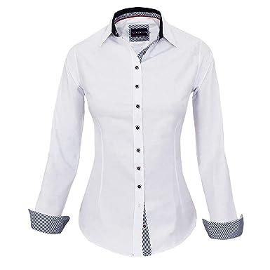 1da9b32176fa HEVENTON Bluse Damen Langarm in Weiß Hemdbluse - Größe 34 bis 42 - elegant  und hochwertig