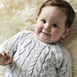 Hope & Henry Layette Grey Cable Knit Sweater Romper