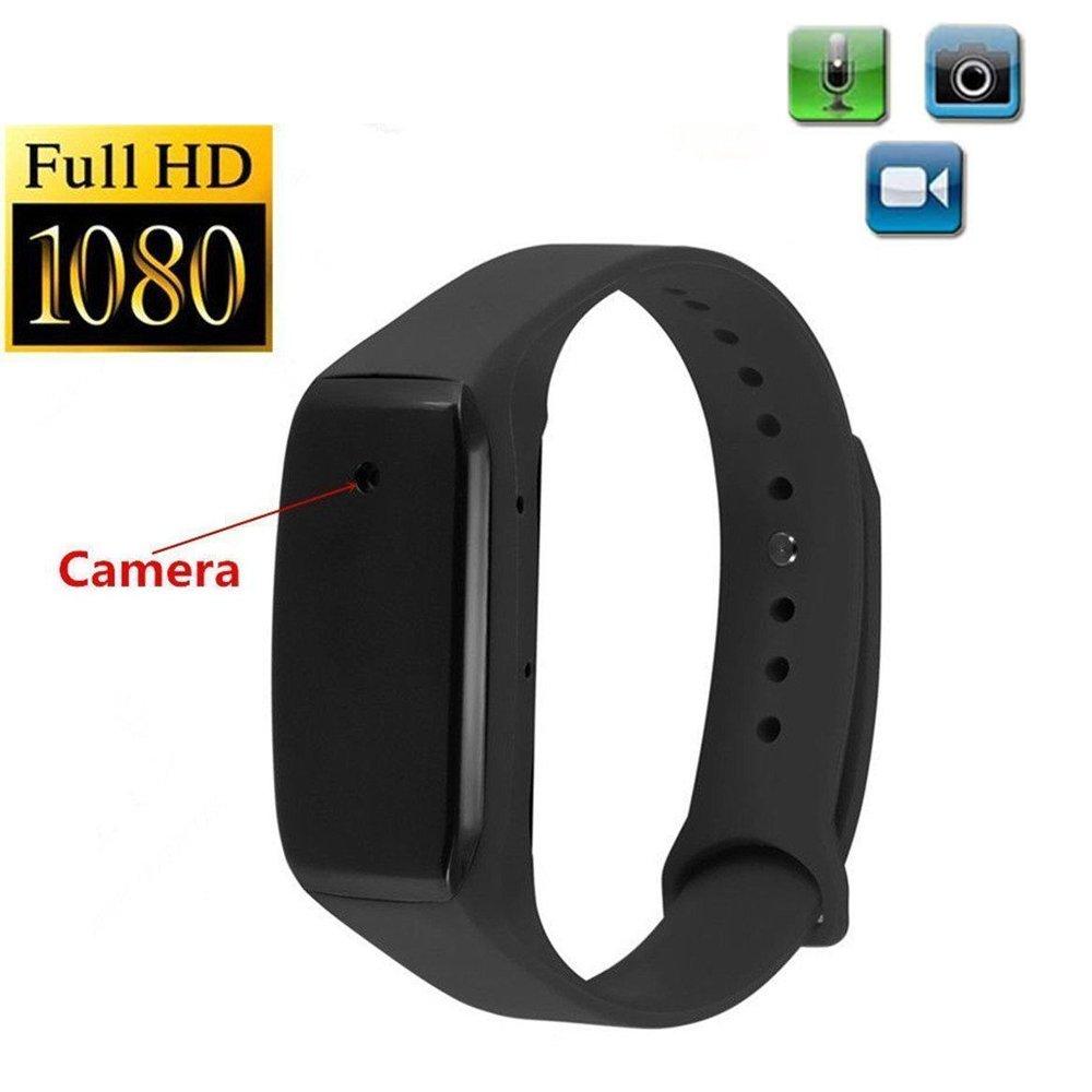 1080p HDウェアラブルカメラポータブルビデオレコーダーブレスレットカメラ B0771J9613  ブラック