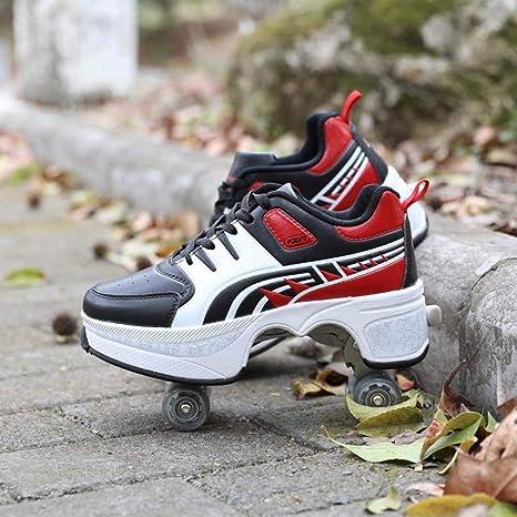 LRZ Deformación Zapatos Multifuncionales Patines Adecuados De Cuatro Ruedas Patinaje Calzado Deportivo De Regalo Seguro Y Duradero para Principiantes Niños Niñas: Amazon.es: Deportes y aire libre