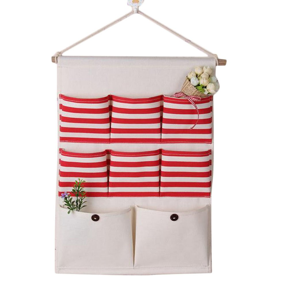 Dosige 1 Pcs Linen/Cotton Fabric Wall Door Closet Hanging Storage Bag Case with 8 Pockets Stripes Organizer Basket (Blue)