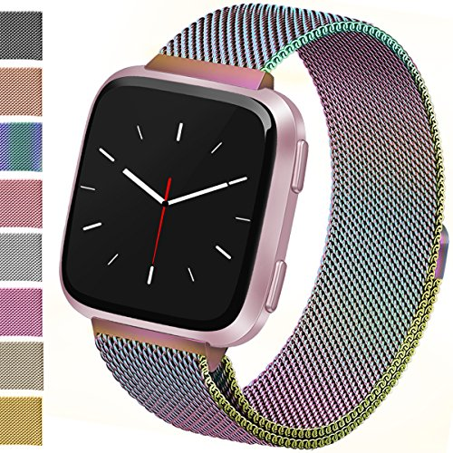 Vancle For Fitbit Versa Bands, Stainless Steel Milanese Mesh Loop Metal Replacement Wristbands with Magnet Lock for Fitbit Versa (Rainbow, Small) by Vancle