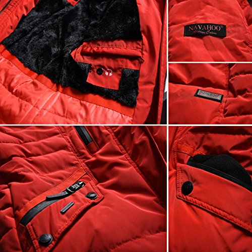 Navahoo d'hiver chaud Rouge manteau femme Parka veste fourr B379 pour HtwarXxt