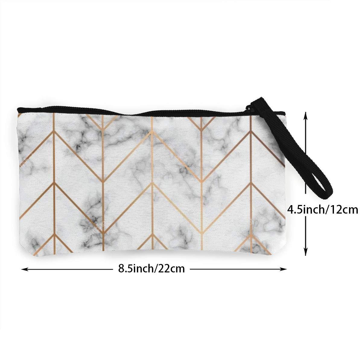 Golden Geometric Lines Womens Canvas Coin Purse Mini Change Wallet Pouch-Card Holder Phone Wallet Storage Bag,Pencil Pen Case
