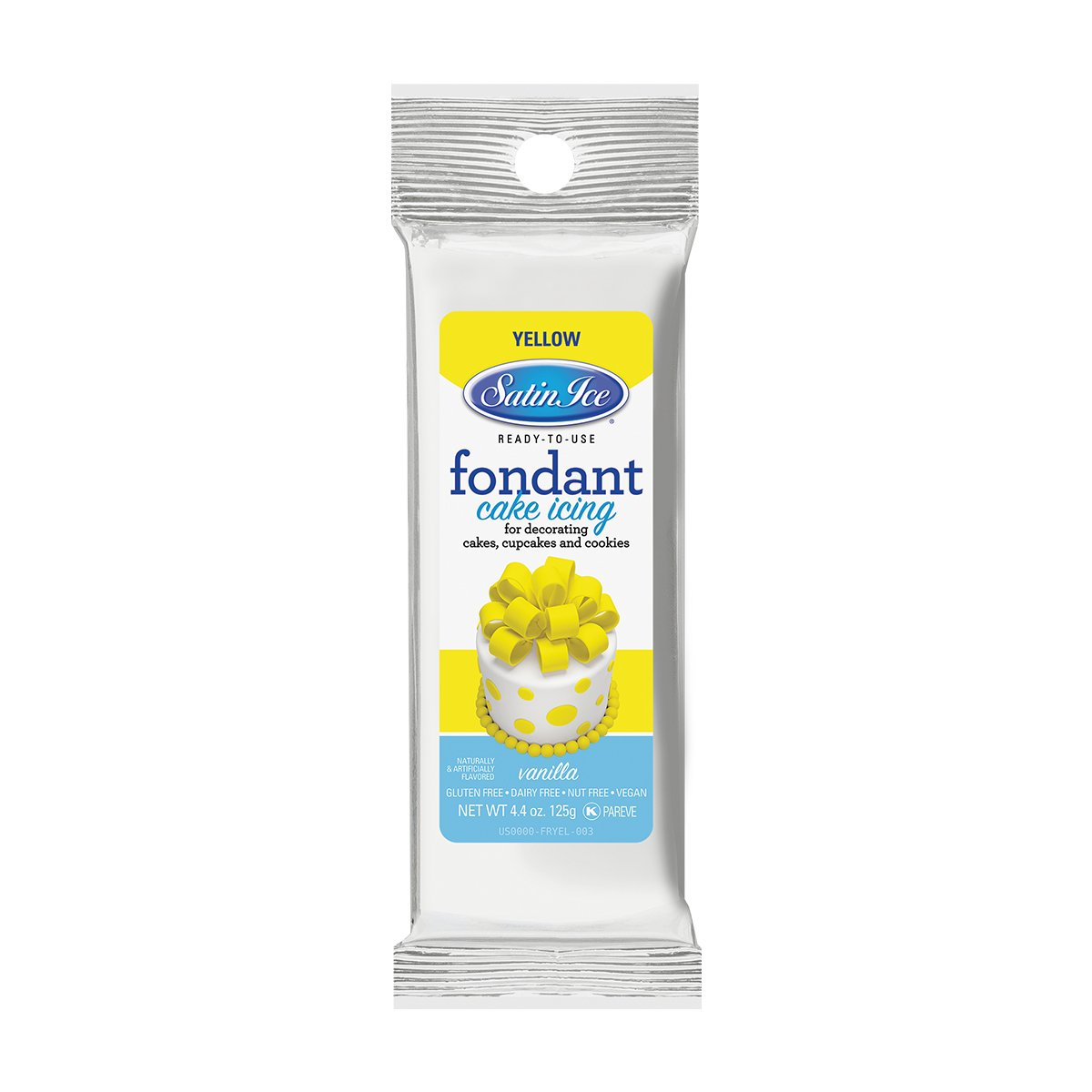 Satin Ice Yellow Fondant, Vanilla, 4.4 Ounces