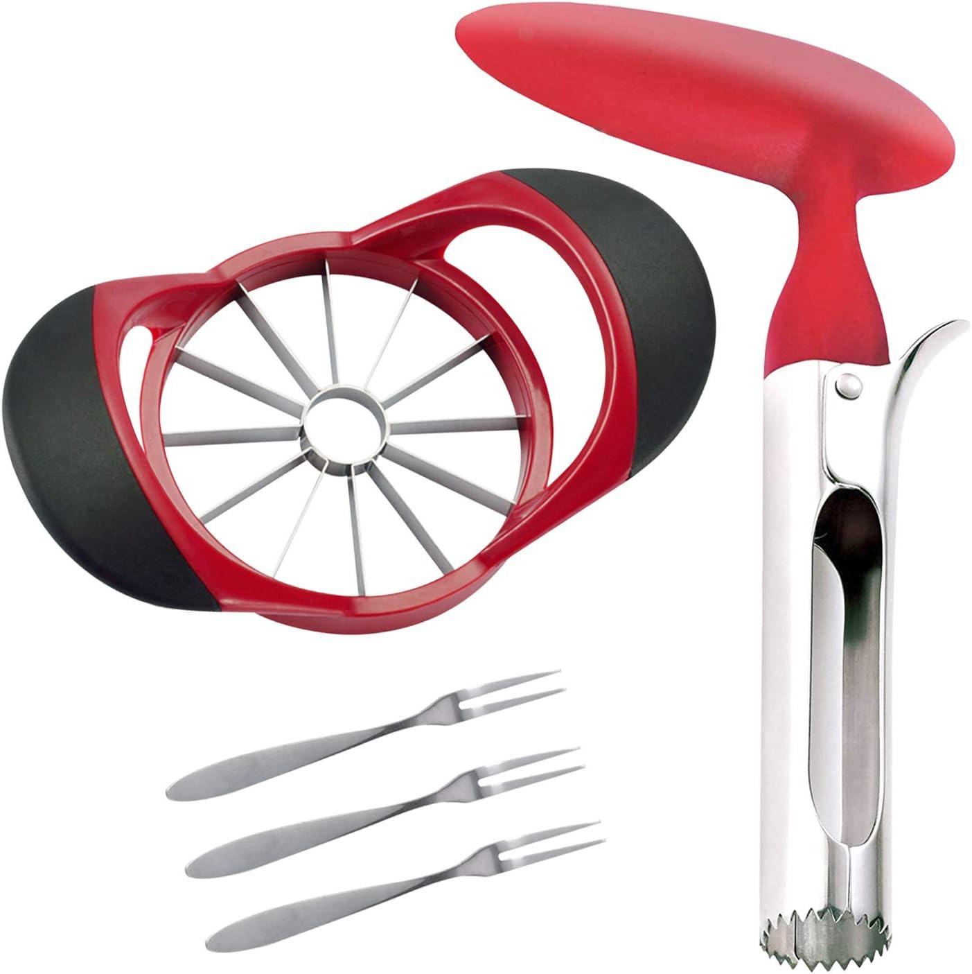 SINGARE Apple Cutter Slicer & Corer Kit, 12-Blade Apple Slicer Cutter, Apple Corer Apple Core Remover for Kitchen, Include 3 Premium Stainless Steel Fruit Forks