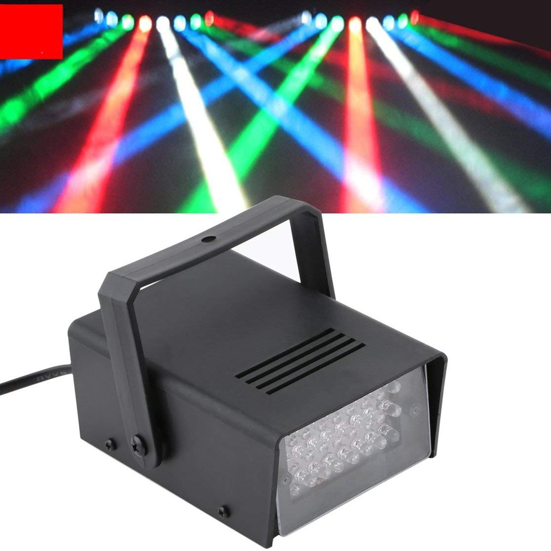 LouiseEvel215 Black Plastic Durable and Environmental Mini 24 LED Strobe Disco DJ Flash Lamp Club Stage Lighting Bulb Party Bar