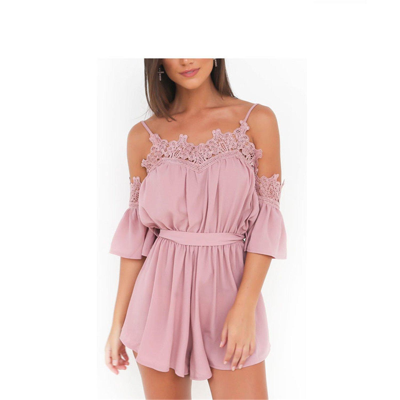 Rainlife Women Pink White Jumpsuits Rompers Chiffon Beach Girls Short Overalls