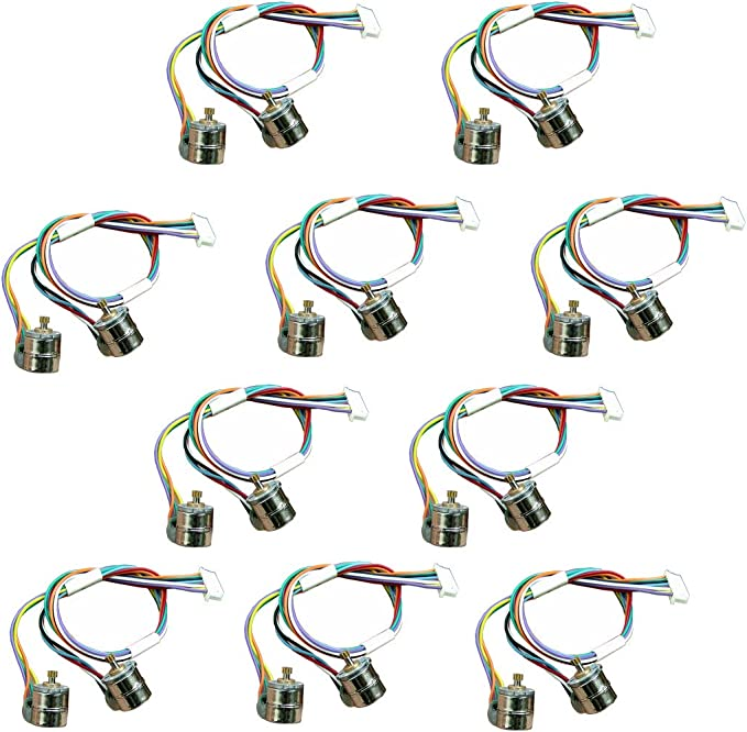 Abovehill 10 pair 8mm Micro Stepper Motor 2-Phase 4-Wire DC 5-6V with Connection line +gear